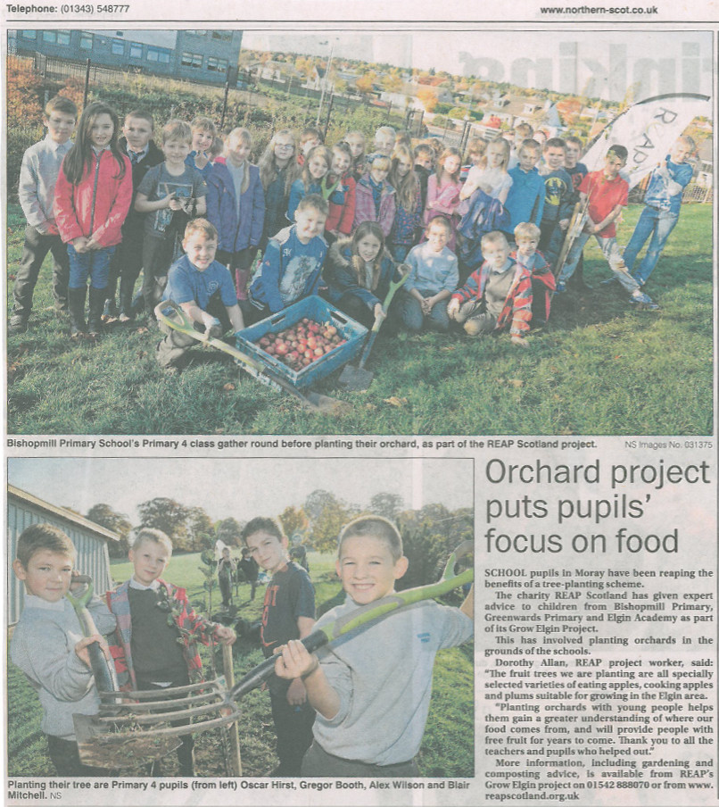 new paper clipping northern scott tree planting bishopmill 18.11.15