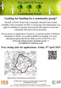 Hill of Towie Windfarm Application Form Deadline @ REAP Office   Scotland   United Kingdom