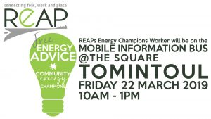 REAP Energy Advice on the Mobile Information Bus, Tomintoul @ The Square