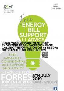 REAP's Energy Bill Support Session in Forres @ Forres Job Centre