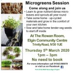 Microgreens Session @ The Rowan Room, Elgin Community Centre