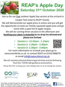 REAP's Apple Day (various sessions) @ Orchard, next to REAP's Kiosk at Cooper Park, Elgin