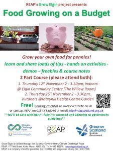 REAP's Growing Food on a Budget (2 part course) @ Elgin Community Centre & Maryhill Medical Centre Gardens